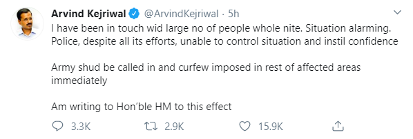 Arvind Kejriwal Tweet on Delhi Violence